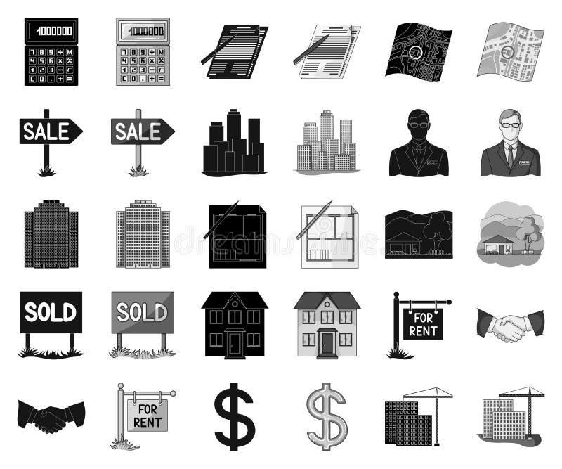 Makelaar in onroerend goed, agentschap zwarte, zwart-wit pictogrammen in vastgestelde inzameling voor ontwerp De kopende en verko royalty-vrije illustratie