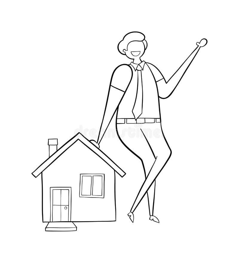 Makelaar in onroerend goed die op huis, hand-drawn vectorillustratie leunen Achter witte overzichten, royalty-vrije illustratie