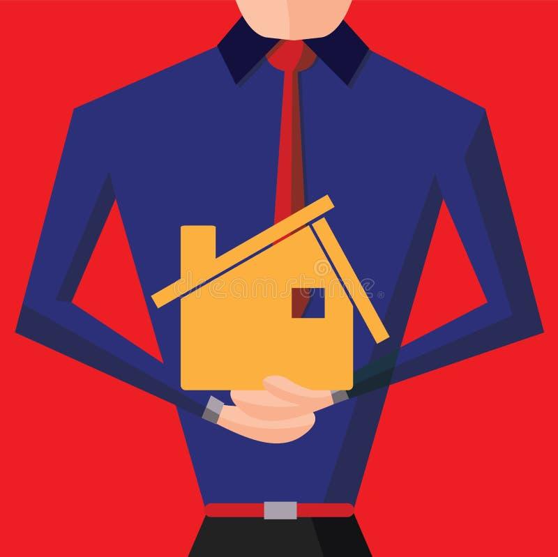 Makelaar in onroerend goed met huismodel Real Estate-concepten vectorachtergrond vector illustratie