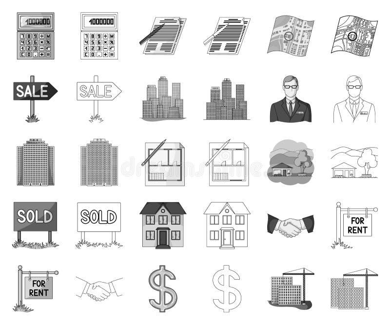 Makelaar in onroerend goed, zwart-wit agentschap, overzichtspictogrammen in vastgestelde inzameling voor ontwerp Kopend en verkop royalty-vrije illustratie
