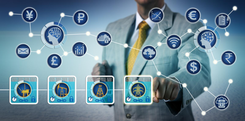 Makelaar Trading Electricity Via Blockchain en IoT royalty-vrije stock foto's