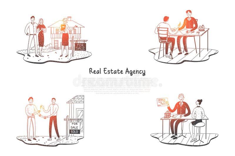 Makelaardij - mensen die flats in agentschap kiezen en zeer belangrijk van de nieuwe reeks van het bezits vectorconcept worden royalty-vrije illustratie