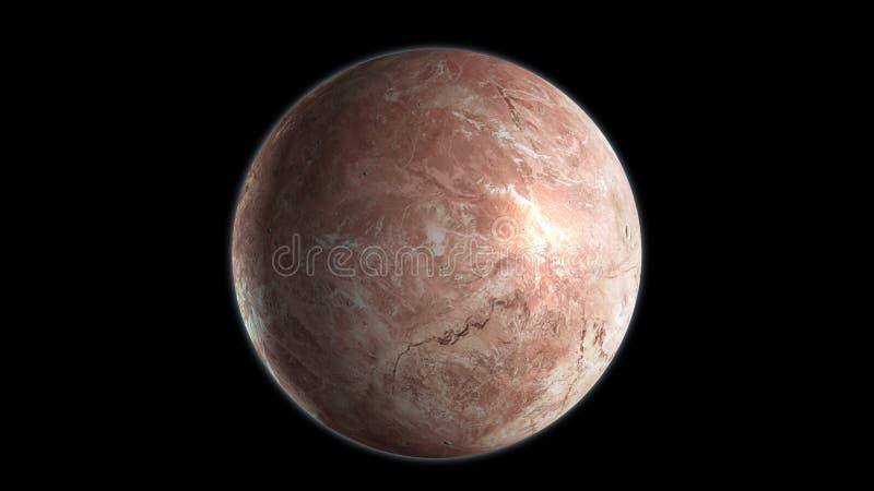 Makemake, zwergartiger Planet lokalisiert auf schwarzem Hintergrund 3d ?bertragen vektor abbildung