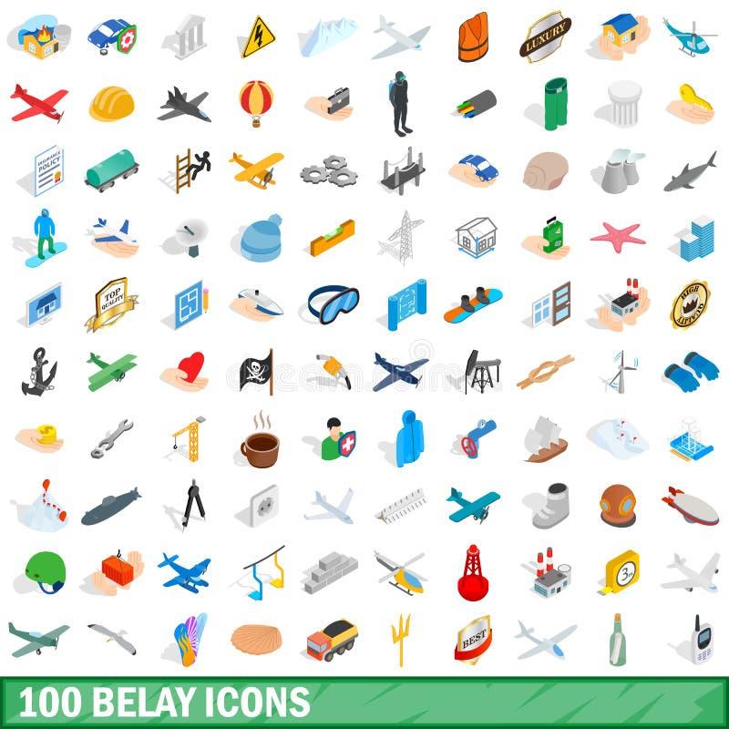 100 maken geplaatste pictogrammen vast, isometrische 3d stijl stock illustratie