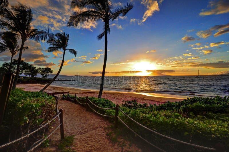 Makena Beach Sunset fotografia stock libera da diritti