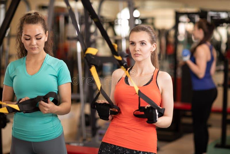 Makende trx de geschiktheidsoefening van de vrouw in gymnastiek stock afbeelding