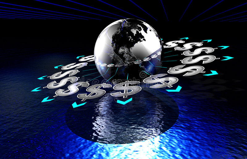 Makes the Earth go round. Money makes the Earth go round. This cgi image dipicts how financial matters affect the world. Buisness or financial image stock illustration