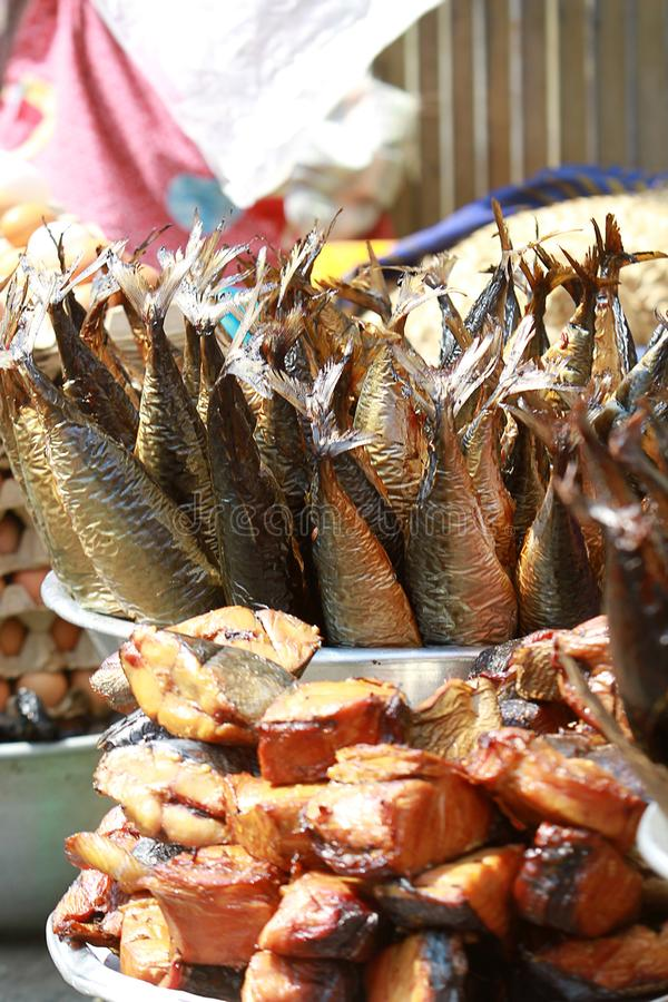 A makeshift stall of dried fish at a street market in Accra, Ghana royalty free stock image
