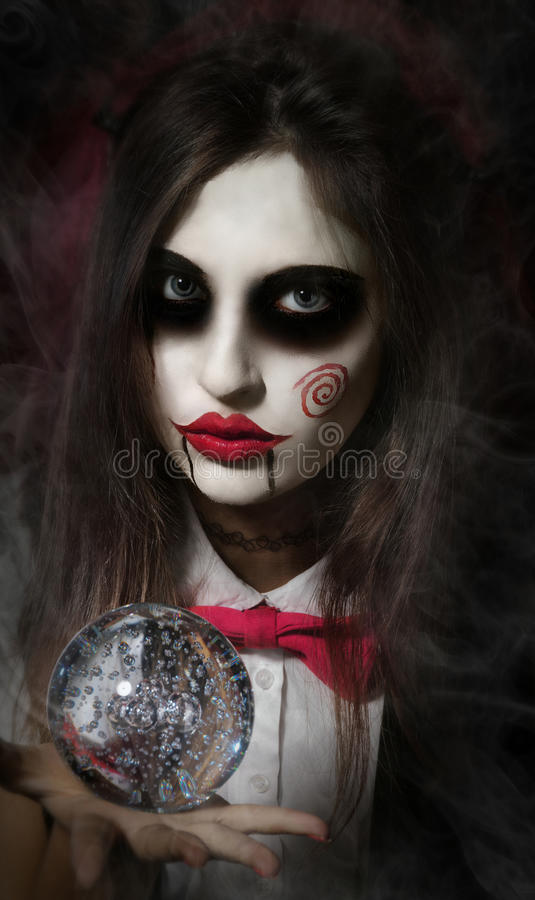 Makeup στο ύφος της κούκλας του Μπίλι στοκ φωτογραφίες