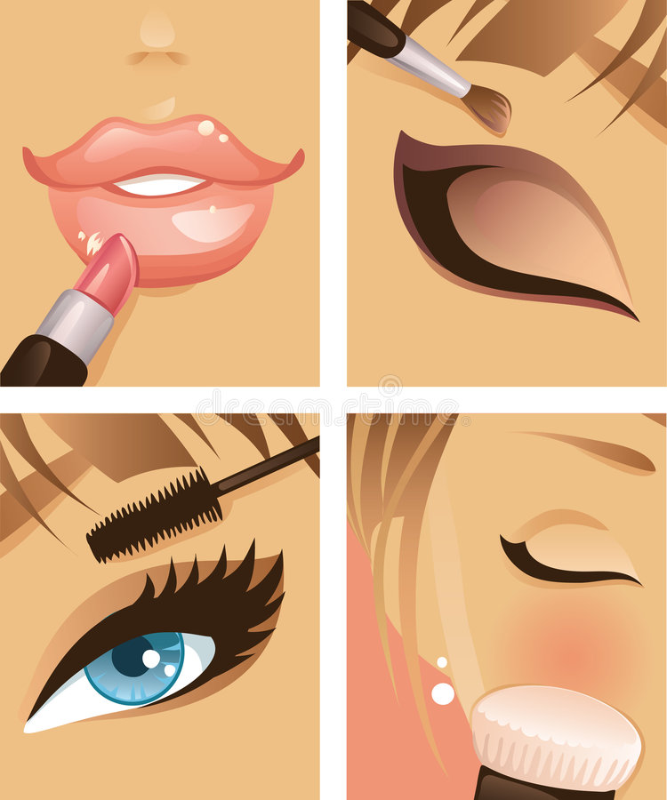 Makeup 1. Four pictures on make-up theme
