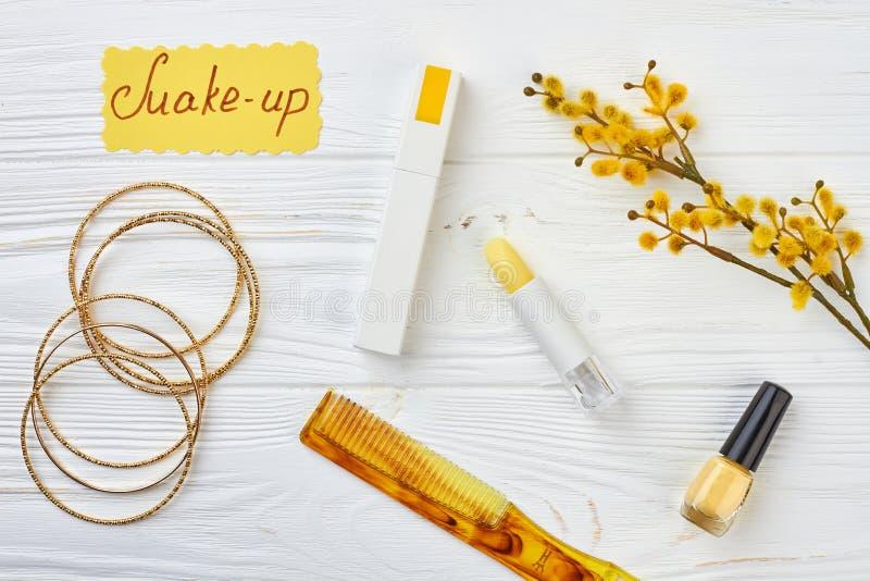 Makeup akcesoria i kici wierzba z baziami fotografia stock