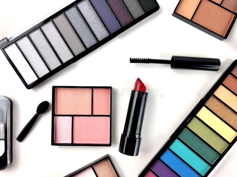 Cosmetics on white background stock image