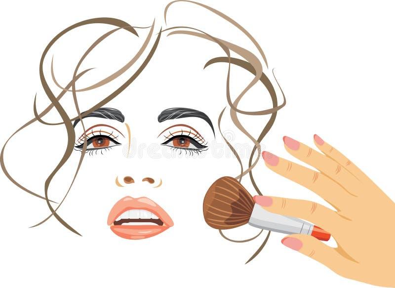 makeup Applicera rodnad med en borste vektor illustrationer