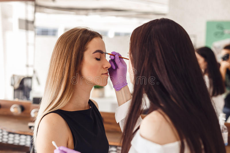 Makeup artist applies paint henna on eyebrows in a beauty salon stock photos