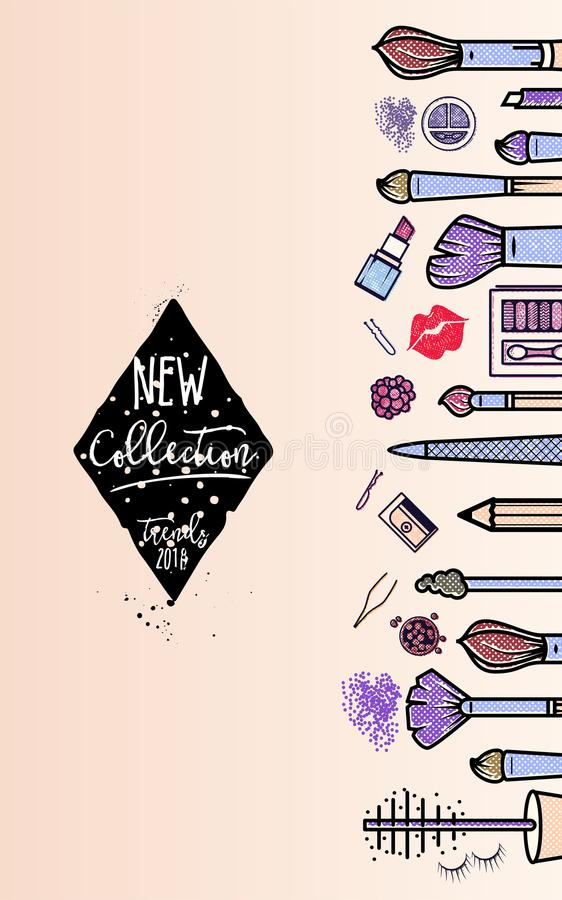 Makeup artist banner. New collection background . business concept. For your design royalty free illustration
