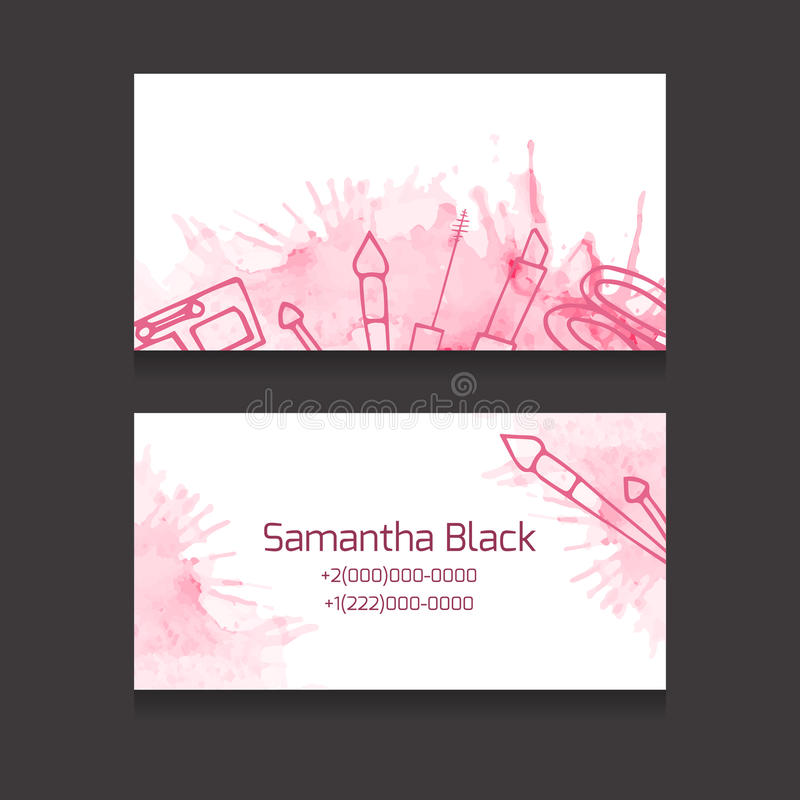 Makeup Artist Business Card Stock Vector - Illustration of computer ...