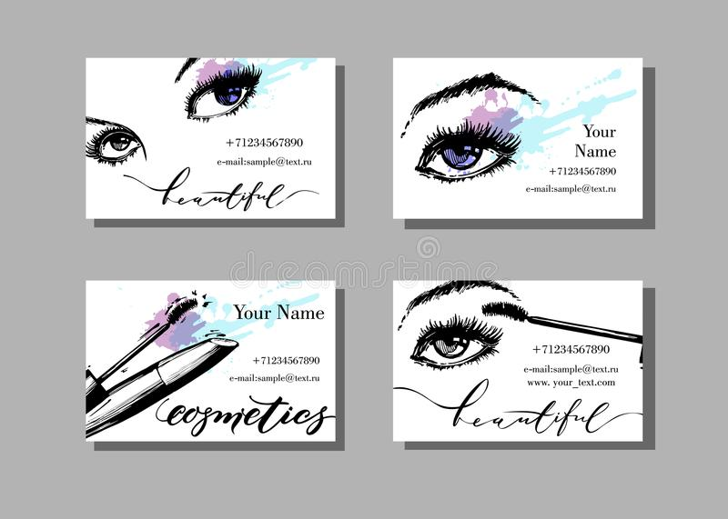 Makeup artist business card. Vector template with makeup items pattern - with beautiful female eyes and mascara. Fashion royalty free illustration