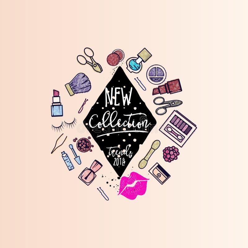 Makeup artist web elements for website templates. New collection - business concept. Makeup artist banner. New collection background . business concept . For stock illustration