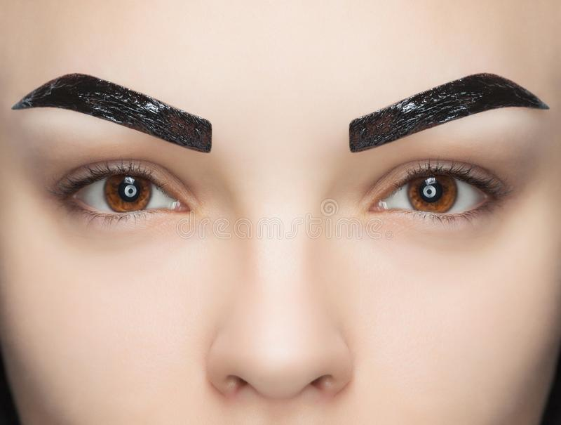 Makeup artysta stosuje farby hennę na brwiach w piękno salonie zdjęcia royalty free