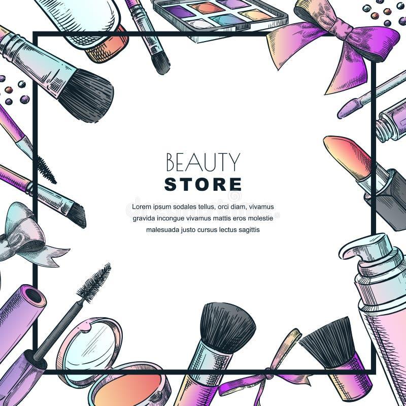 Makeup banner, poster or label design template.Sketch illustration of facial cosmetic. Beauty shop background vector illustration