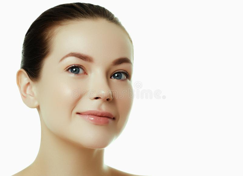 Daily makeup. Beautiful face of a young caucasian woman royalty free stock photography