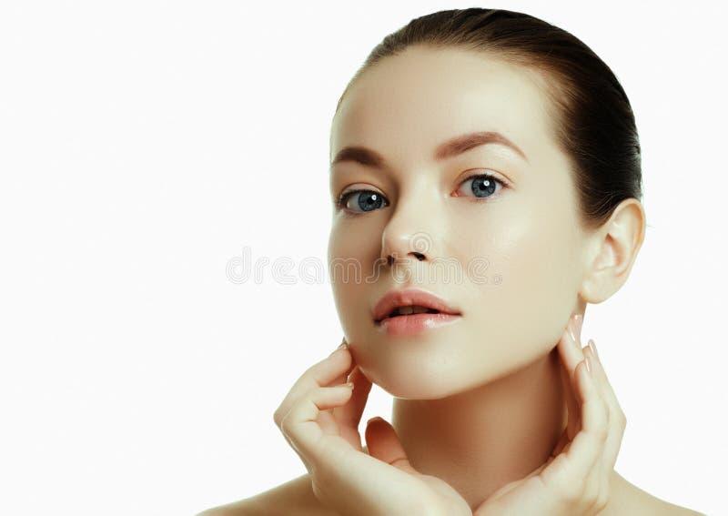 Daily makeup. Beautiful face of a young caucasian woman stock images