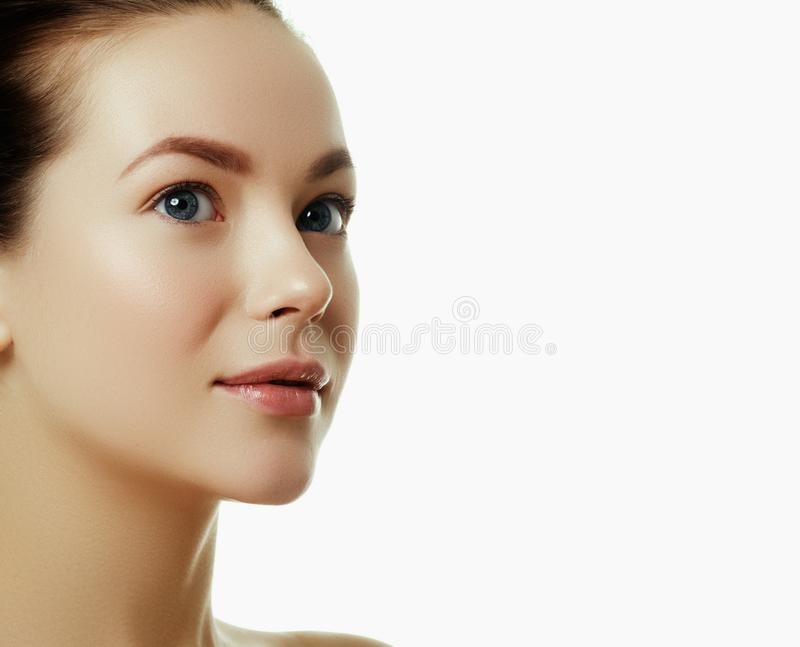 Beautiful face of a young caucasian woman. Woman beauty face stock image