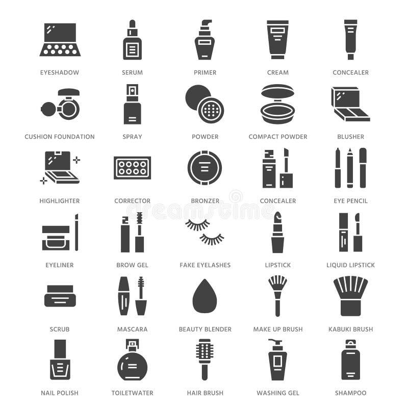 Makeup beauty care flat glyph icons. Cosmetics illustrations of lipstick, mascara, powder, eyeshadows, cushion royalty free illustration