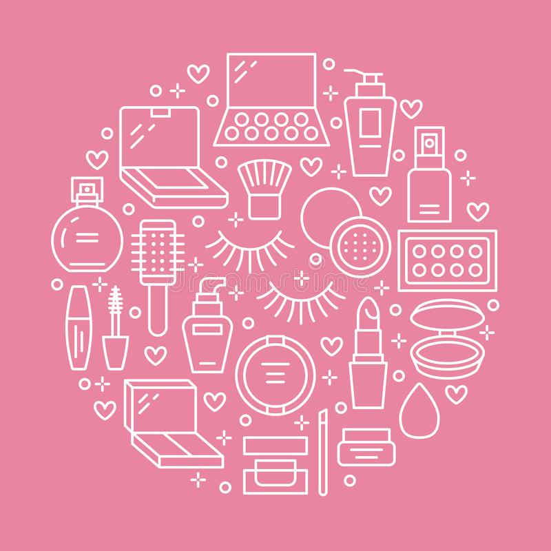 Makeup beauty care pink circle poster concept with flat line icons. Cosmetics illustrations of lipstick, mascara, powder stock illustration