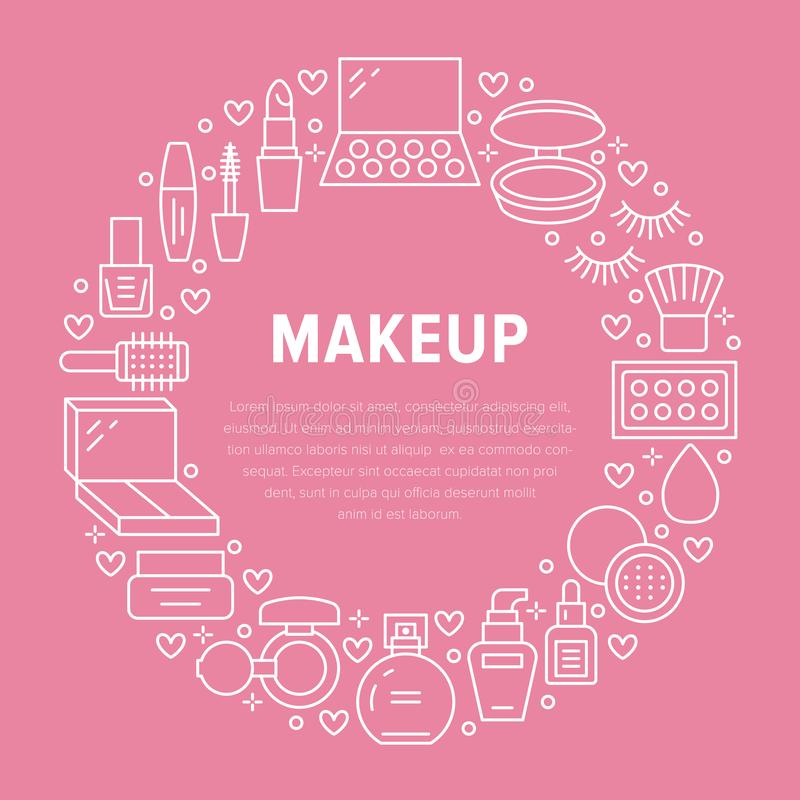 Makeup beauty care pink circle poster with flat line icons. Cosmetics illustrations of lipstick, mascara, powder vector illustration