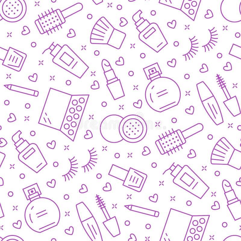 Makeup beauty care purple seamless pattern with flat line icons. Cosmetics illustrations of lipstick, mascara, perfume. Eyeshadows, nail polish. Cute repeated royalty free illustration