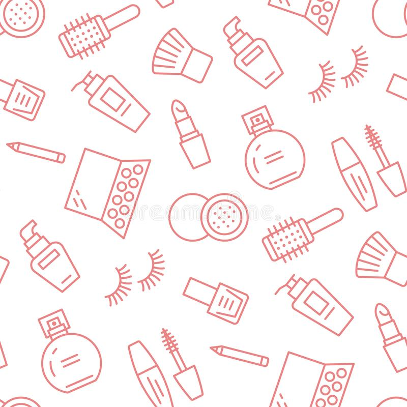 Makeup beauty care red seamless pattern with flat line icons. Cosmetics illustrations of lipstick, mascara, perfume royalty free illustration