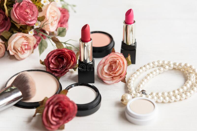 Makeup beauty cosmetic fashion set background. Cosmetics woman bag product facial, royalty free stock image