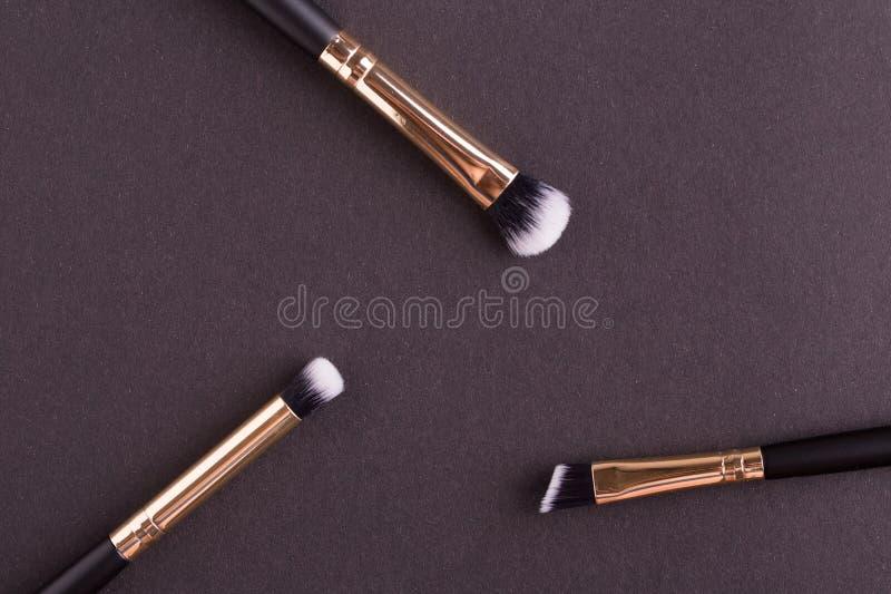 Makeup borstar n?rbild arkivbilder