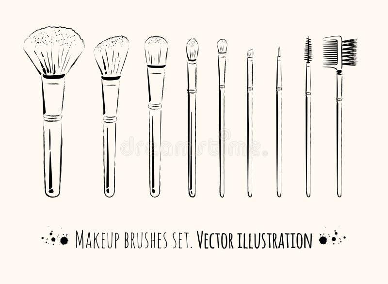 Makeup borstar satsen vektor illustrationer