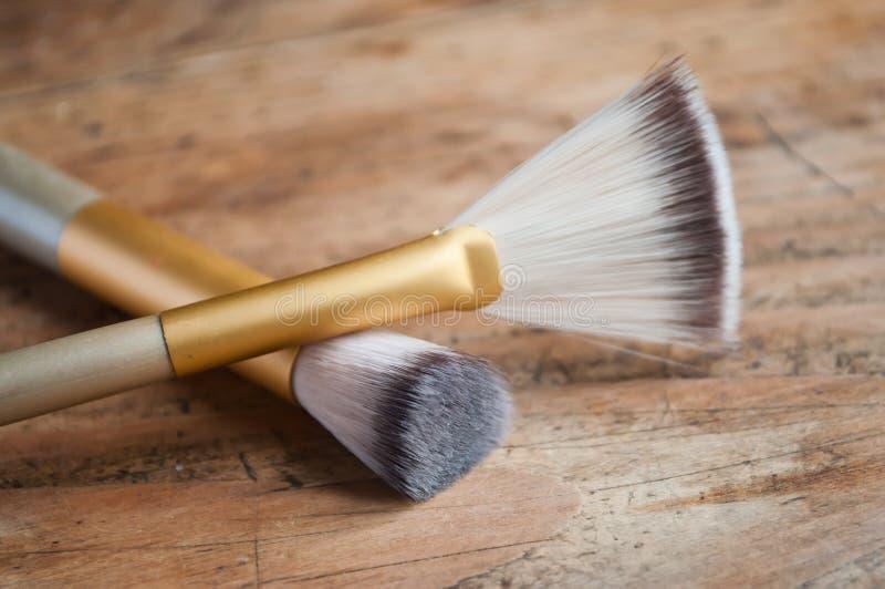 Makeup brush closeup royalty free stock images