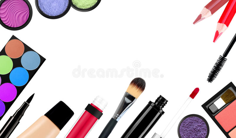 Makeup brush and cosmetics, on a white background isolated. With clipping path royalty free stock image