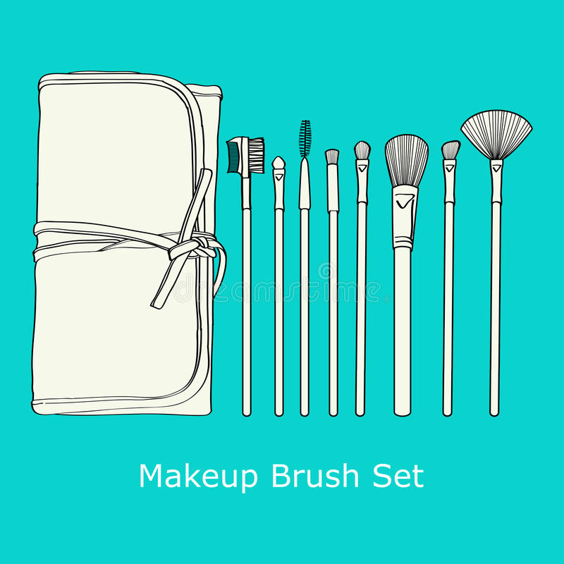 Download Makeup Brush Set stock vector. Image of face, graphic - 34228721