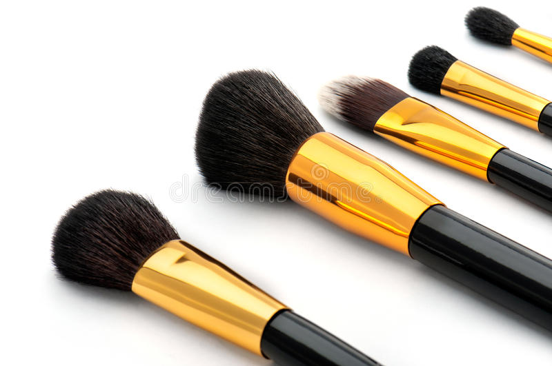 Makeup brush set with five brush royalty free stock images