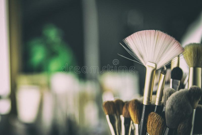 Makeup Brushes Beauty Studio Background stock images