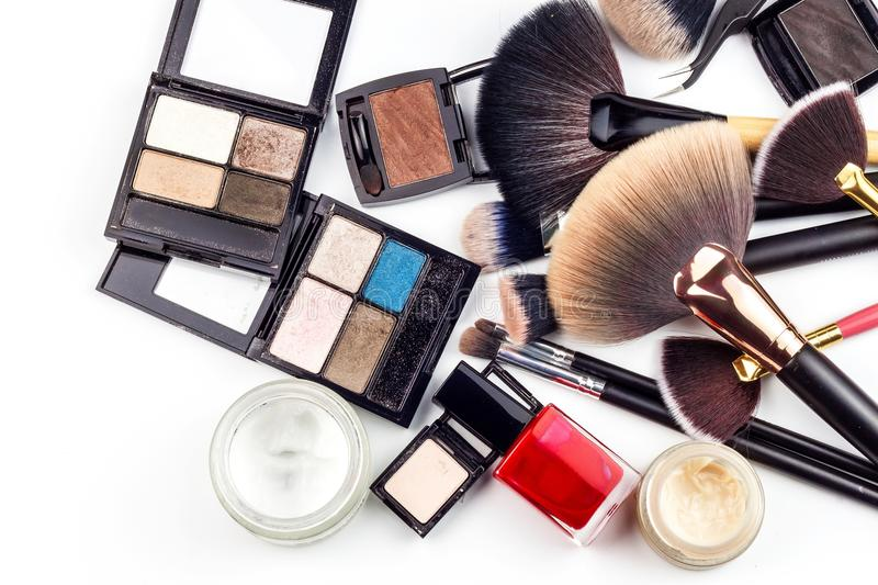 Makeup brushes. Cosmetic industry. Brush for beauty. Sales of cosmetics. Advertising for a beautiful woman. stock image