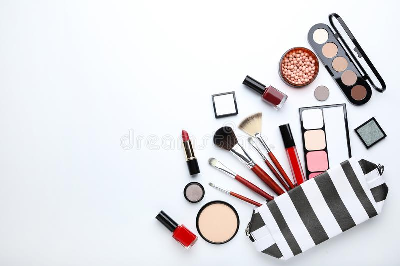 Makeup brushes and different cosmetics stock photography