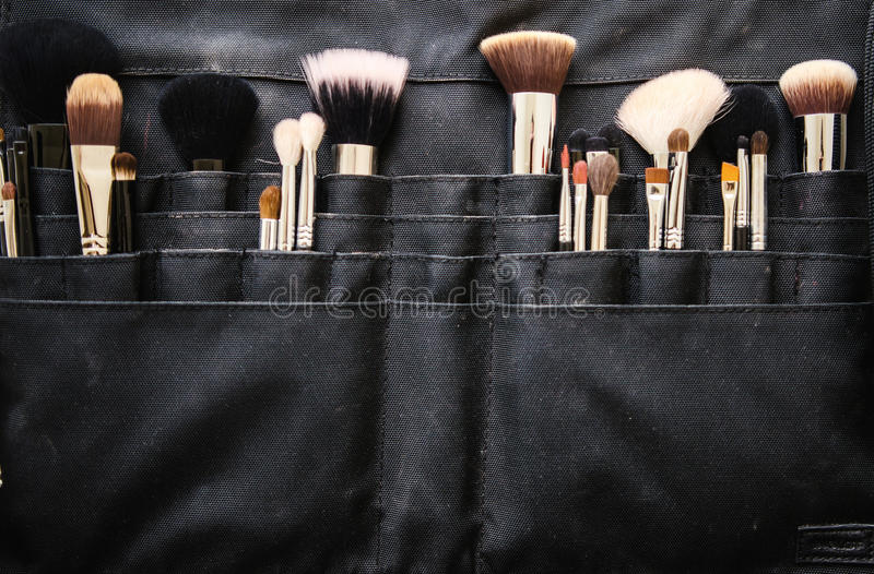 Makeup brushes stock photography