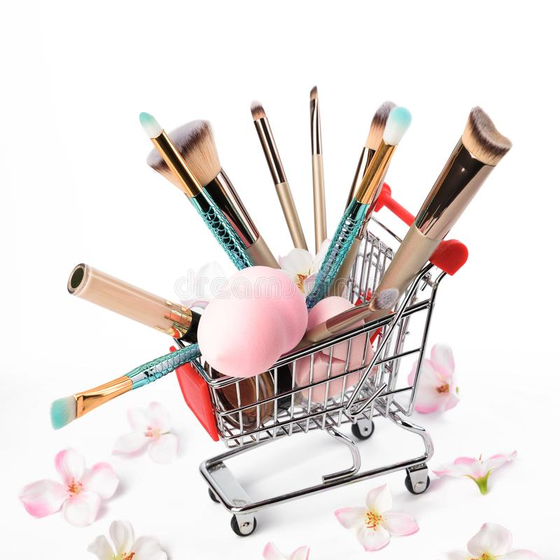 Makeup brushes isolated on white background. stock images