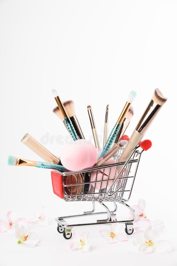 Makeup brushes isolated on white background. royalty free stock image