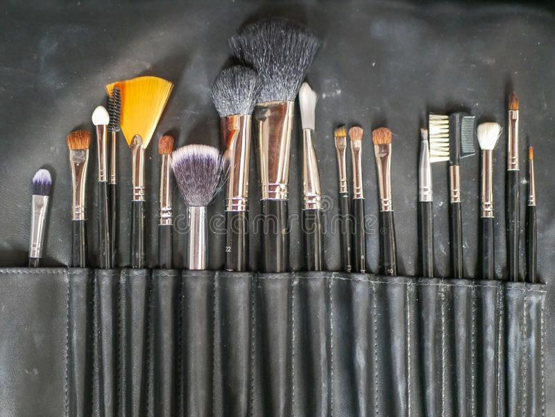 Makeup brushes. makeup tools. After cleaning makeup brushes finish and will dry bristle for lady to use again stock photography