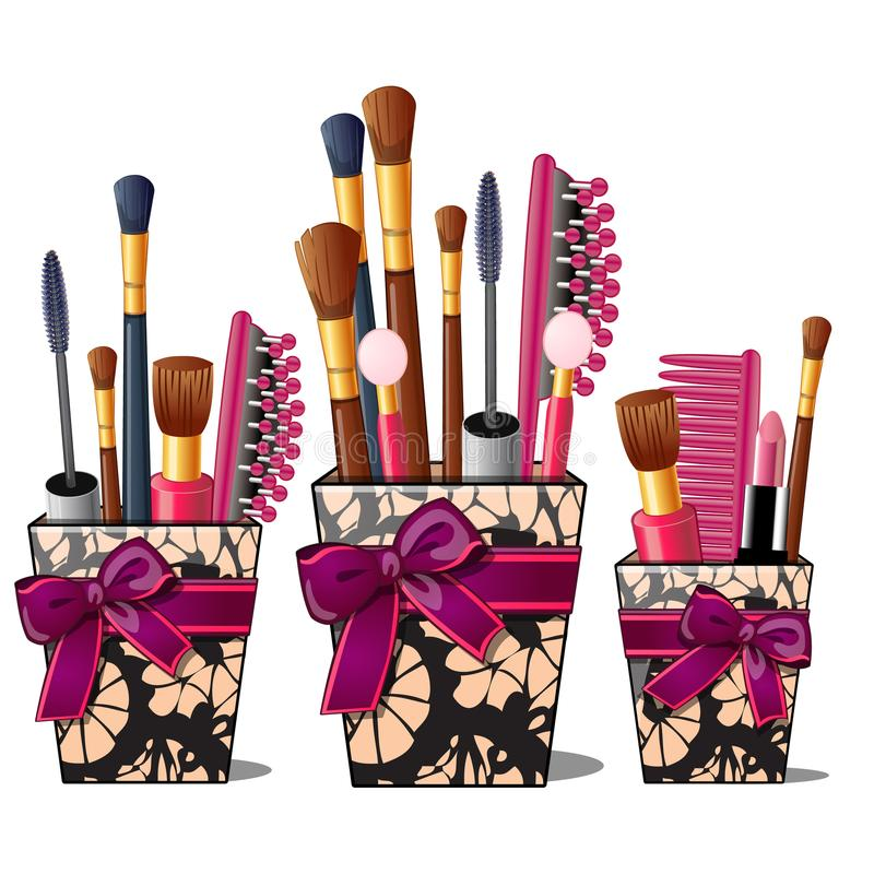 Free Makeup Brushes, Mascara, Comb In Box With Pink Bow Royalty Free Stock Images - 100180219