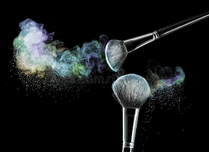 Download Makeup Brushes With Powder Stock Image Of Fashion