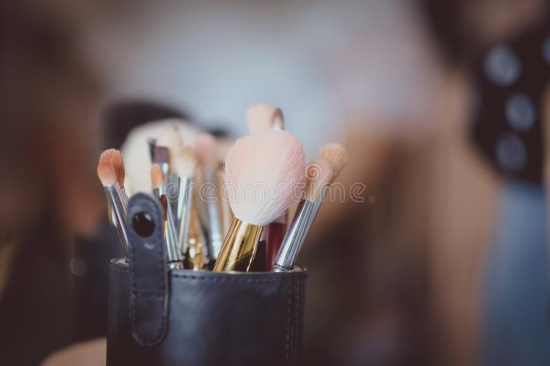 Makeup brushes set. Beauty, professional, background, fashion, cosmetic, eye, blush, face, tool, powder, collection, glamour, kit, paint, , shadow, artist stock photos