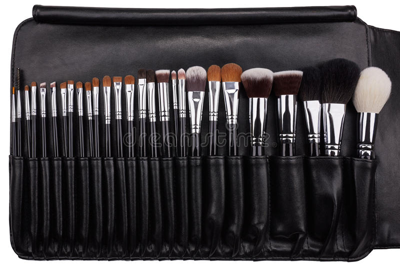 Download Makeup Brushes Set In Leather Case. Isolated. White Background Stock Image - Image of care, feminine: 79261565